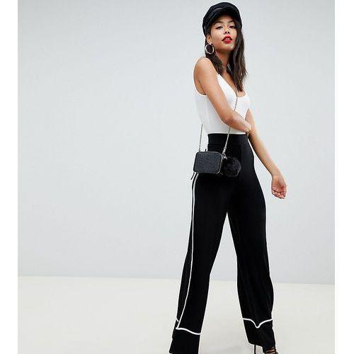 ASOS DESIGN Tall wide leg trousers with contrast binding - Black, kolor czarny