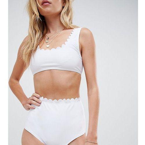 South Beach White Scallop Edge Mix & Match High Waist High Leg Bikini Bottom - White, bikini