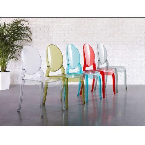 Beliani Krzesło przezroczysto-czerwone - krzesło do jadalni, kuchni - merton, kategoria: krzesła