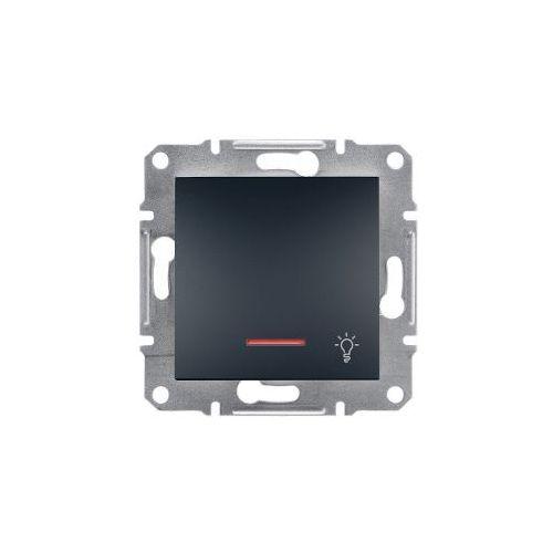 Asfora przycisk ''światło'' Schneider podtynkowy pojedynczy z podświetleniem antracyt EPH1800171