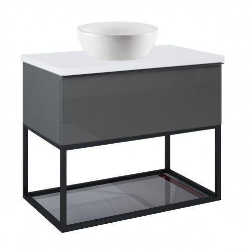 szafka look 1s anthracite pod umywalkę nablatową + szklana półka + uchwyt czarny + blat 80 white 167080+167666+167516+166892 marki Elita