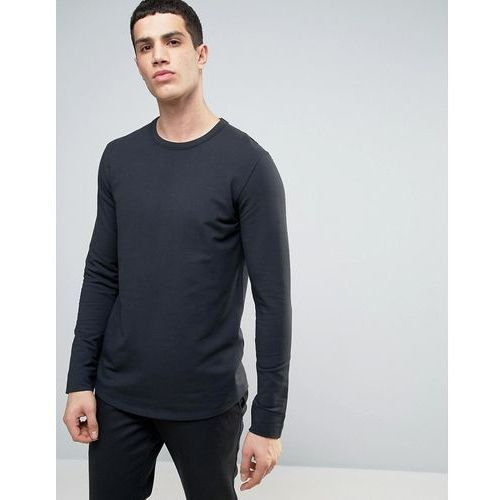Selected Homme Longline Sweatshirt with Curved Hem and Back Stitch - Black