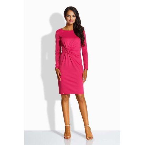 Fuksja elegancka dopasowana sukienka z ozdobnym węzłem, Lemoniade, 40-42