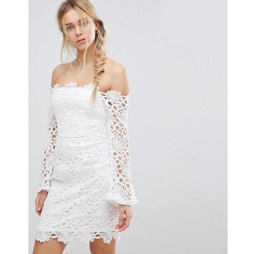 Glamorous Off Shoulder Lace Dress - White