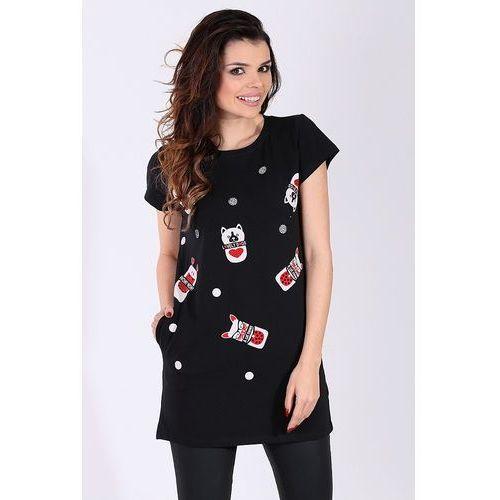"""Sukienka/Tunika z nadrukiem kolor czarny """"model 15202"""" - czarny"""