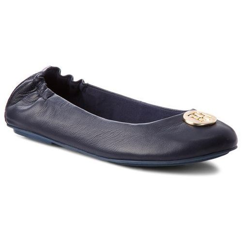 fe6807b4752c2 Baleriny TOMMY HILFIGER - Flexible Ballerina Leather FW0FW03401 Tommy Navy  406