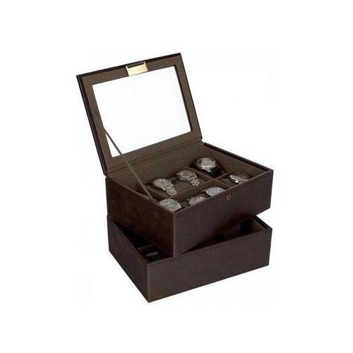 Pudełko na zegarki podwójne 12 komorowe brąz khaki marki Stackers