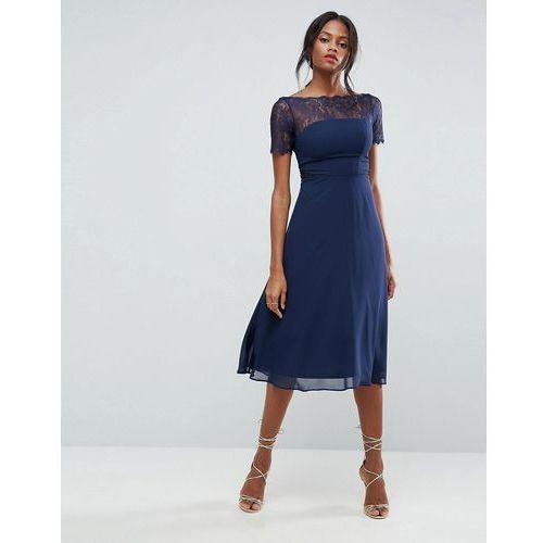 lace insert panelled midi dress - navy, Asos