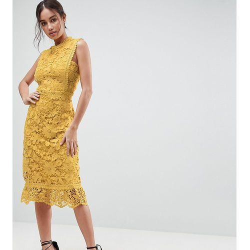 Boohoo Bib Detail Lace Midi Dress - Brown, kolor brązowy