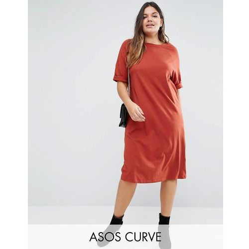 cotton midi t-shirt dress with raglan sleeve and boat neck - orange, marki Asos curve