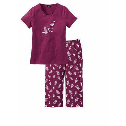 Piżama z krótkim rękawem i spodniami 3/4 bonprix jeżynowo-biały, bawełna