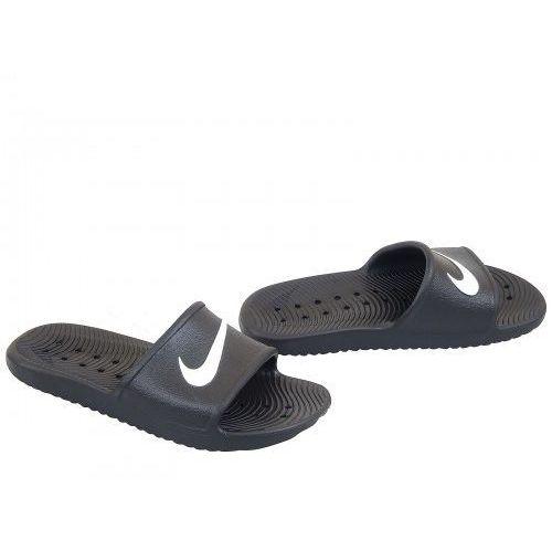 Klapki kawa shower czarne białe logo r. 47,5, Nike