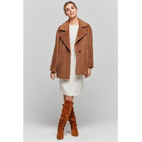 Patrizia aryton Kamelowy krótki płaszcz z suri alpaki -