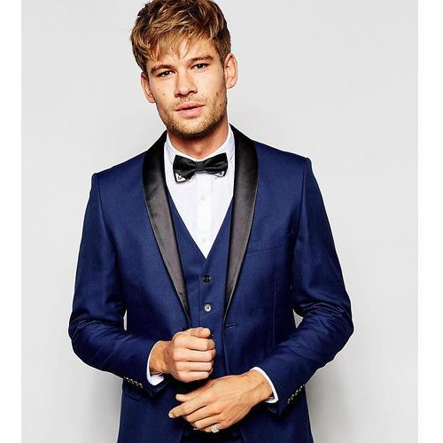 exclusive tuxedo suit jacket with shawl lapel in skinny fit - blue, Selected homme