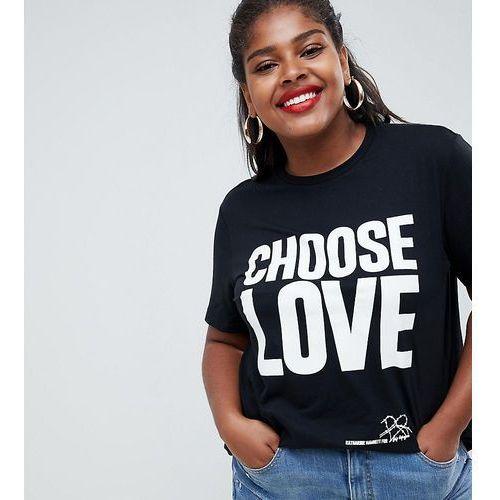 Help Refugees Choose Love Curve t-shirt in black organic cotton - Black, kolor czarny