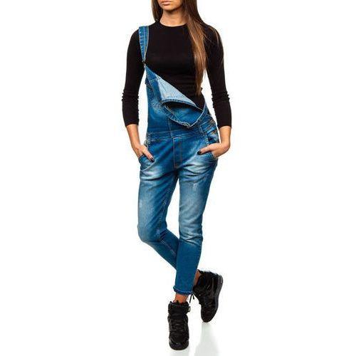 Spodnie jeansowe ogrodniczki damskie niebieskie Denley 260, kolor niebieski