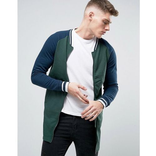 Brave Soul Long Line Baseball Zip Through Sweat Jacket - Green