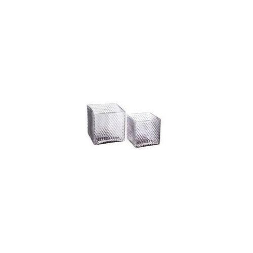 Atmosphera Stylowe doniczki szklane, zestaw 2 doniczek kwadratowych do salonu, kolor szary (3560238337622)