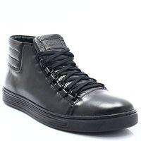 304 czarne - skórzane trampki za kostkę - czarny, Kent