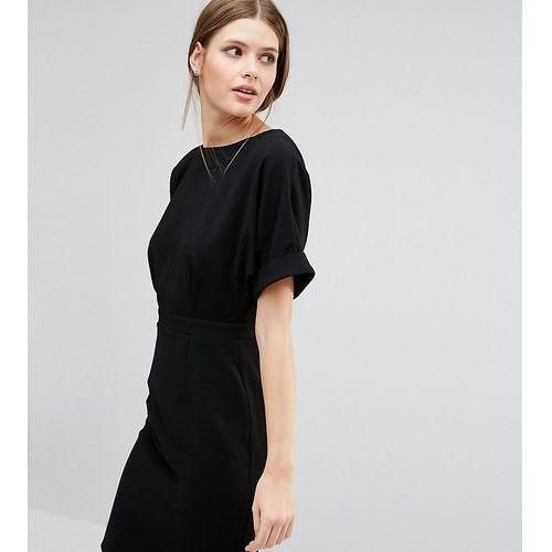 Asos tall smart woven mini dress with v back - black