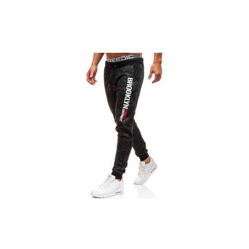 Spodnie męskie dresowe joggery moro-czarne Denley KK513, kolor czarny