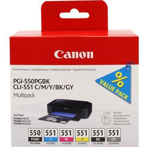 Canon 6 x tusz: CLI-551 CMYK + GY + PGI-550BK, 6496B005
