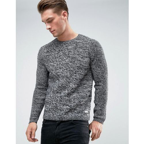 Only & sons knitted jumper with raglan sleeve and mixed yarn - black