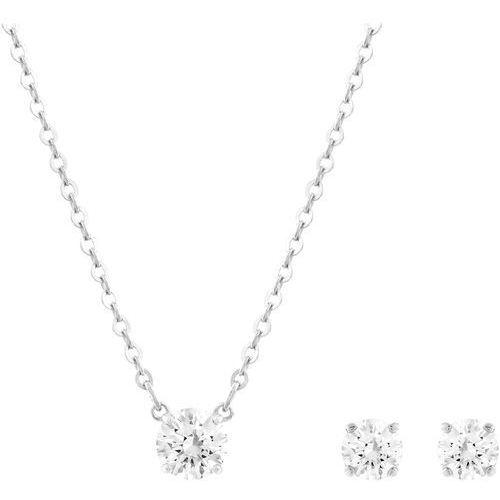 Swarovski damski biżuteria zestaw naszyjnik + kolczyki attract rodowane szkło białe – 5113468