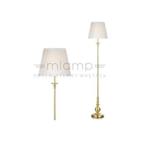Klasyczna LAMPA podłogowa IMPERIA 106322 Markslojd abażurowa OPRAWA stojąca mosiądz biała