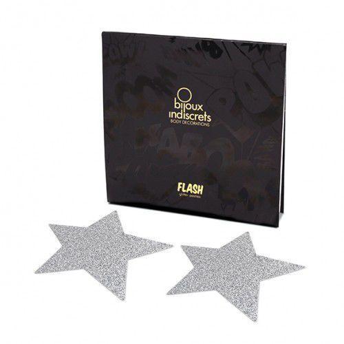 Naklejki na sutki - Bijoux Indiscrets Flash Silver Srebrna Gwiazda - produkt z kategorii- Nakładki na sutki