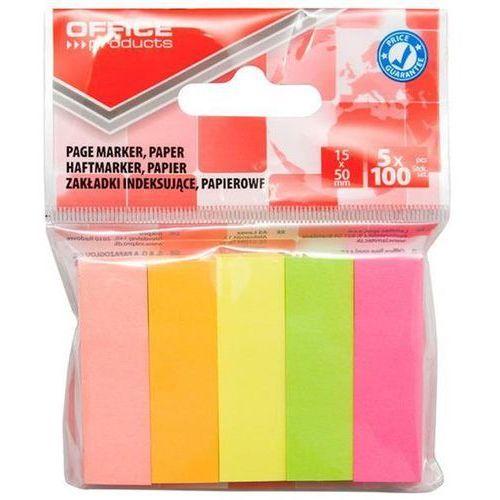 Zakładki indeksujące , papier, 15x50mm, 5x100 kart., zawieszka, mix kolorów marki Office products
