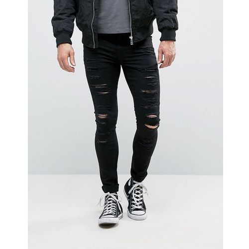 New Look Extreme Super Skinny Jeans With Rips In Black - Black, kolor czarny
