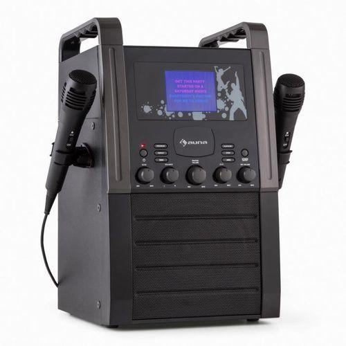 A8B-V2 BK zestaw karaoke odtwarzacz CD AUX 2 x mikrofon czarny