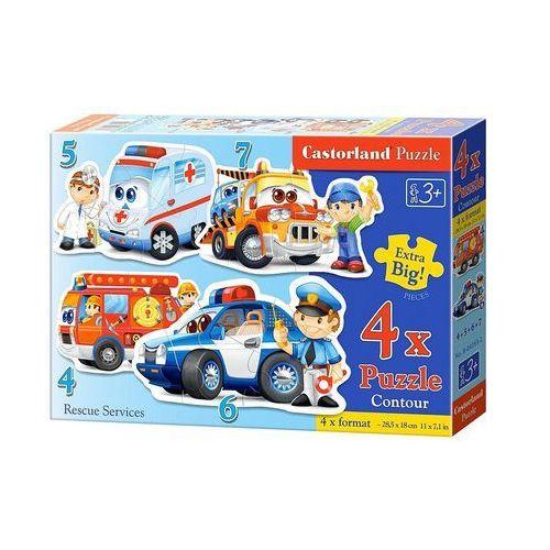 Castor Puzzle, 4 duże konturowe układanki w 1 pudełku. służby ratownicze (5904438004393)