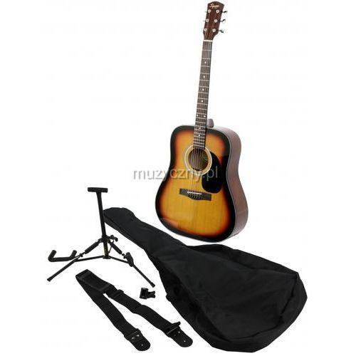 Fender squier sa105 sb pack gitara akustyczna zestaw, kolor sunburst