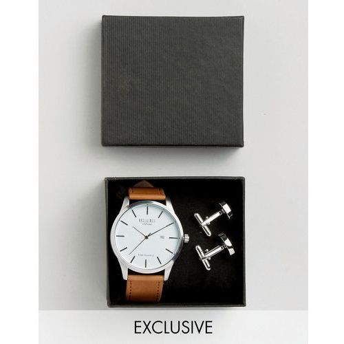 tan leather watch and silver cufflihnks gift set - tan, marki Reclaimed vintage
