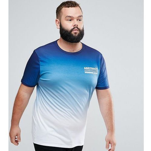 big & tall t-shirt with fade print in blue and white - white marki River island