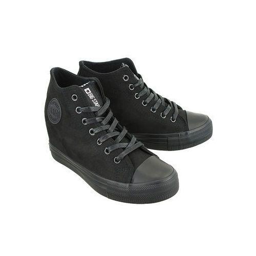bb274090 czarny micro, trampki, sneakersy damskie - czarny, Big star
