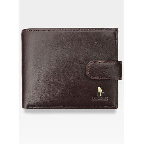 Portfel męski skórzany  ciemny brąz zapinany 20439p piekiełko - ciemny brąz marki Puccini