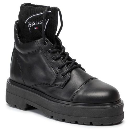Tommy jeans Trapery - tommy signature flatform boot en0en00678 black 990