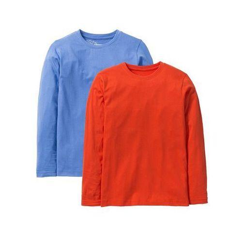 Shirt basic, długi rękaw (2 szt.)  czerwona pomarańcza + błękitny, marki Bonprix