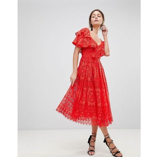 ruffle one shoulder lace prom dress - red, Asos