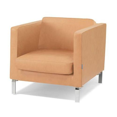 Fotel z serii KVADRAT rtapicerowany skórą w kolorze naturalnym, kup u jednego z partnerów