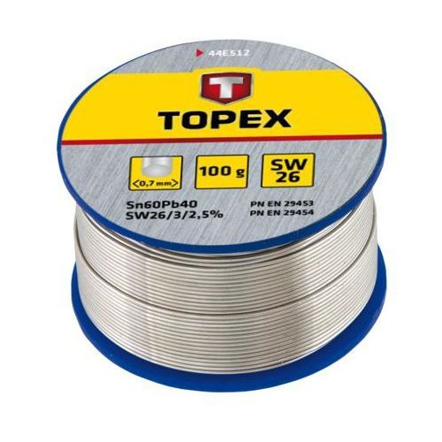 Lut cynowy TOPEX 60% Sn, drut 0.7 mm, 100 g