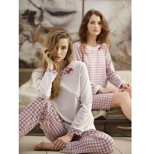 Piżama Cana 380 S-XL dł/r S, beżowo-bordowy. Cana, L, M, S, XL, 5902406138002