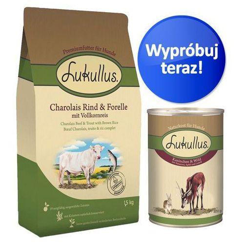 Zestaw próbny Lukullus, karma sucha + karma mokra - Adult, Wołowina charolaise i pstrąg
