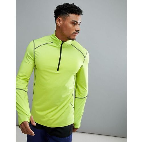 sport long sleeve top with zip in fluorescent green - yellow marki New look