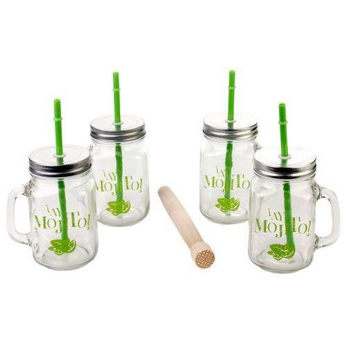 Słoiki do napojów, 4 sztuki kubków ze słomkami oraz drewnianym tłuczkiem (3560234509474)