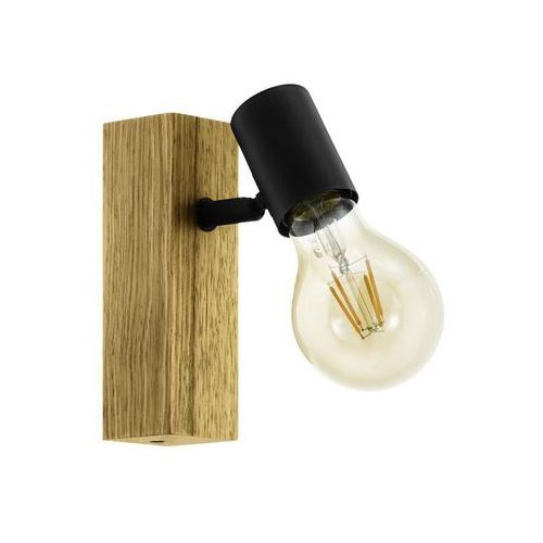 Reflektork TOWNSHEND czarny z drewnem E27 EGLO (9002759981112)