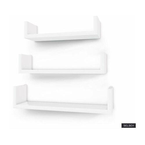 zestaw trzech półek kaliopsi białych 30 cm, 35 cm, 40 cm marki Selsey